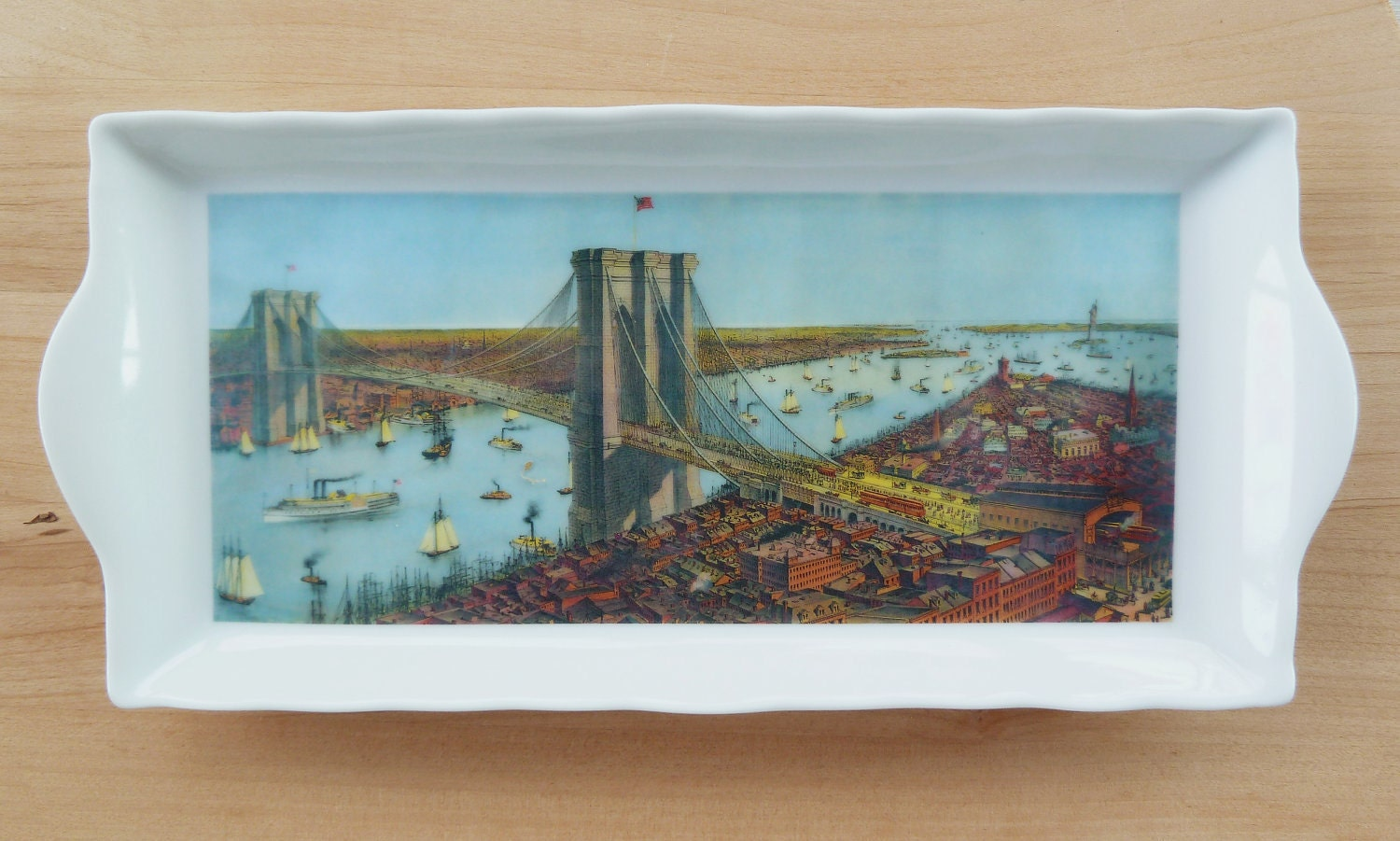 Dresser/ Desk Tray with Antique Brooklyn Bridge Design - MilestoneDecalArt