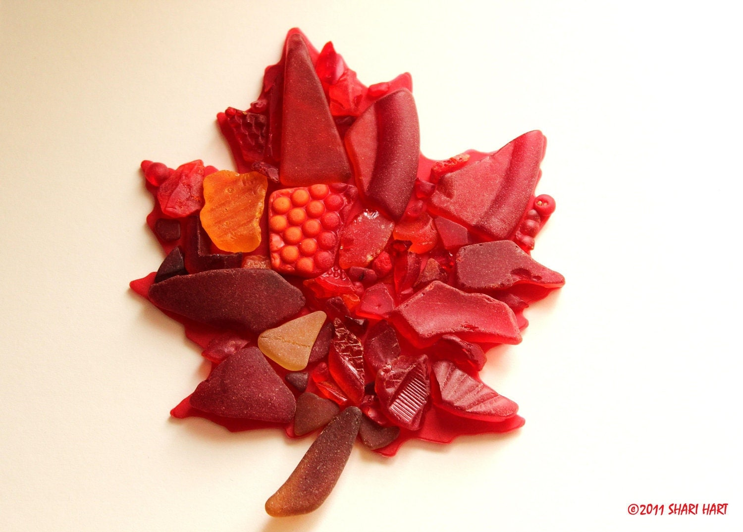 Sea Glass Photography 5x7 Print -RED MAPLE LEAF- sea glass, beach glass, red, orange, yellow, Autumn, New England, mermaid tears