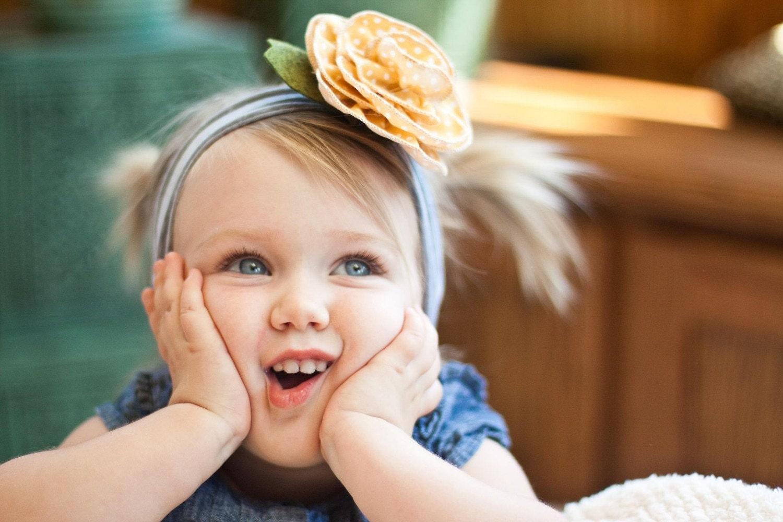 дизайнер цветок SNUGARS желтый горошек оголовье волосы группа шляпу шапочка шапка ребенок младенец новорожденный малыш девушка