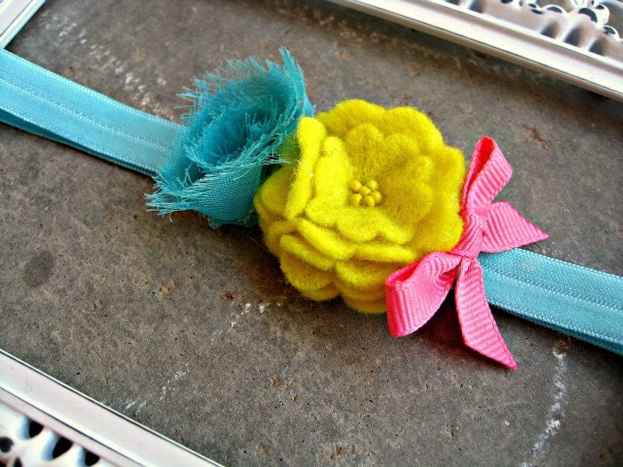 Sunny Day Rosette Headband Felt Flower Headband Baby Headband Kids Headband Hair Bow Photo Prop