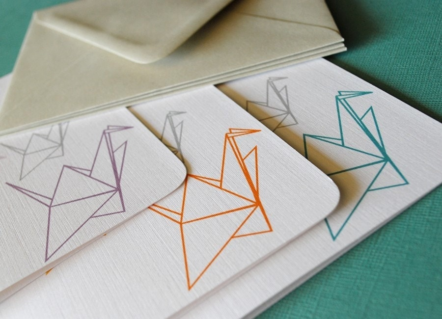 Paper Cranes- blank cads, set of 6
