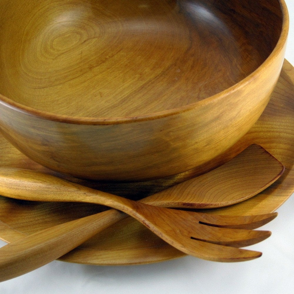 Wooden salad bowl, charger and servers - hand turned birch - vintage Woodbury's Woodware - RecentHistory