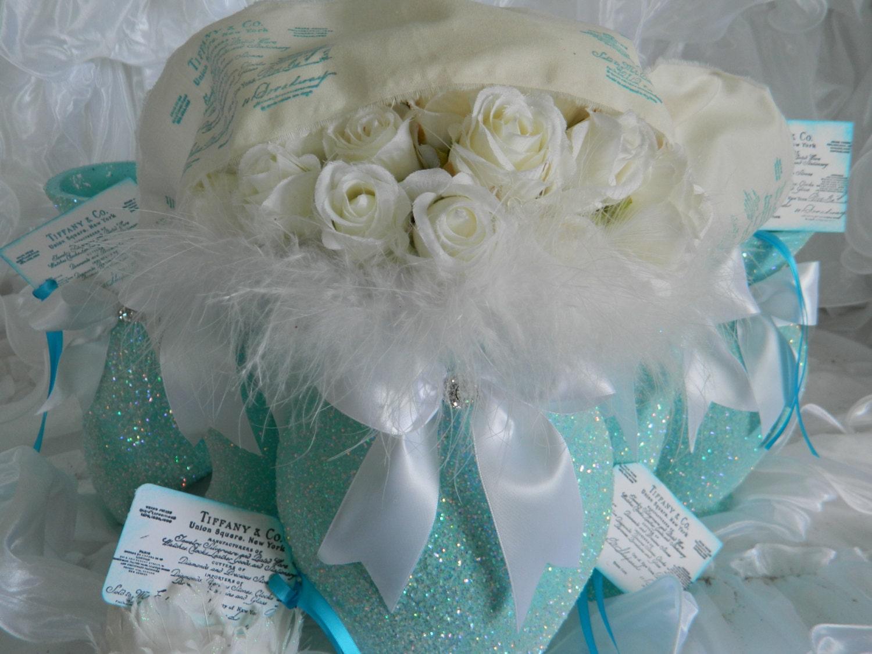Wedding Centerpiece, Wedding Decoration, Shabby Chic Wedding, Tiffany Wedding, Baby Shower, Bridal Shower, Aqua, Weddings, Tiffany Blue - KPGDesigns