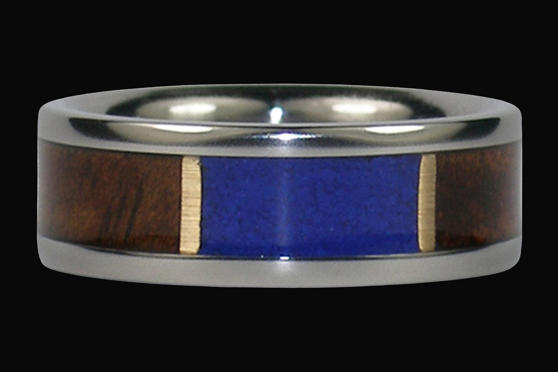Titanium RIng Style Earth Hawaiian Koa Wood and Blue Lapis Stone Handmade by