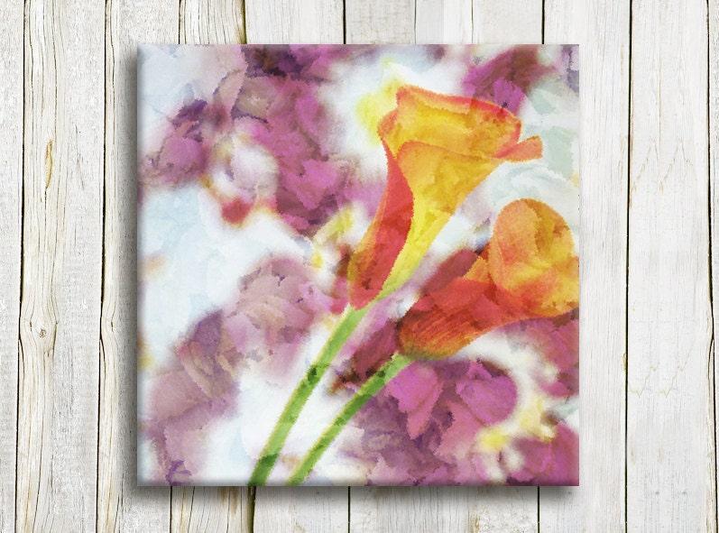 """Floral printed art. Canvas art. 12""""/12"""" Framed art - OneDesign4U"""