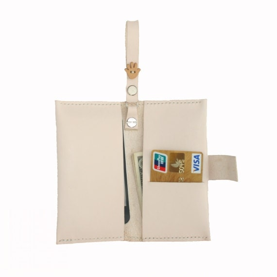 iPhone 4 Wallet Handmade Leather Case Pouch Card Holder White with Clasp Closure