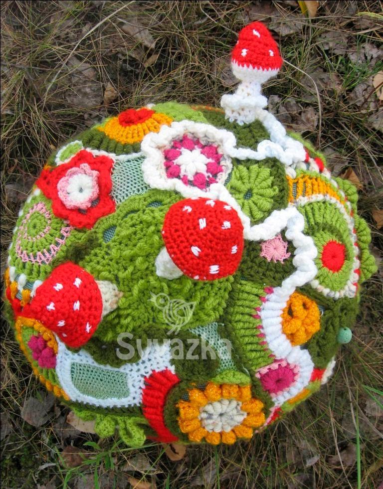 OOAK вязание крючком свободной форме подушки грибов посредничества