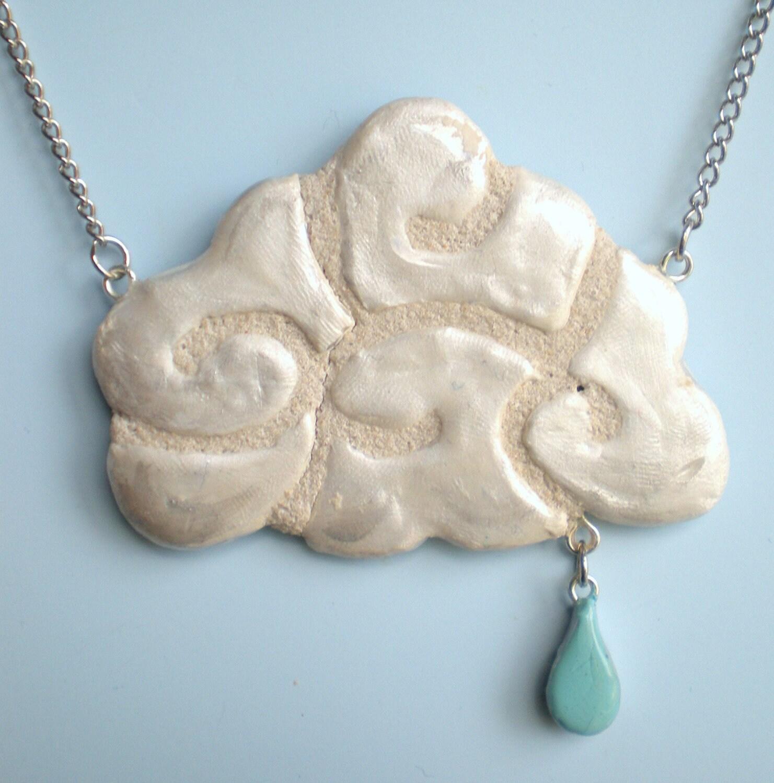 Cloud Necklace with Raindrop REVERSIBLE Mosaic Tile Pendant