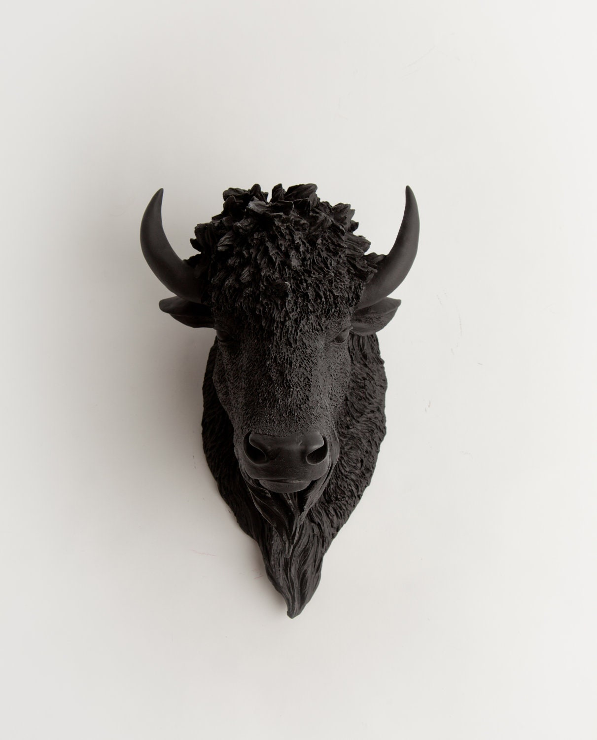 Faux Bison - The Manstad - Black Resin Bison Head- Buffalo Resin Black Faux Taxidermy- Chic & Trendy - WhiteFauxTaxidermy
