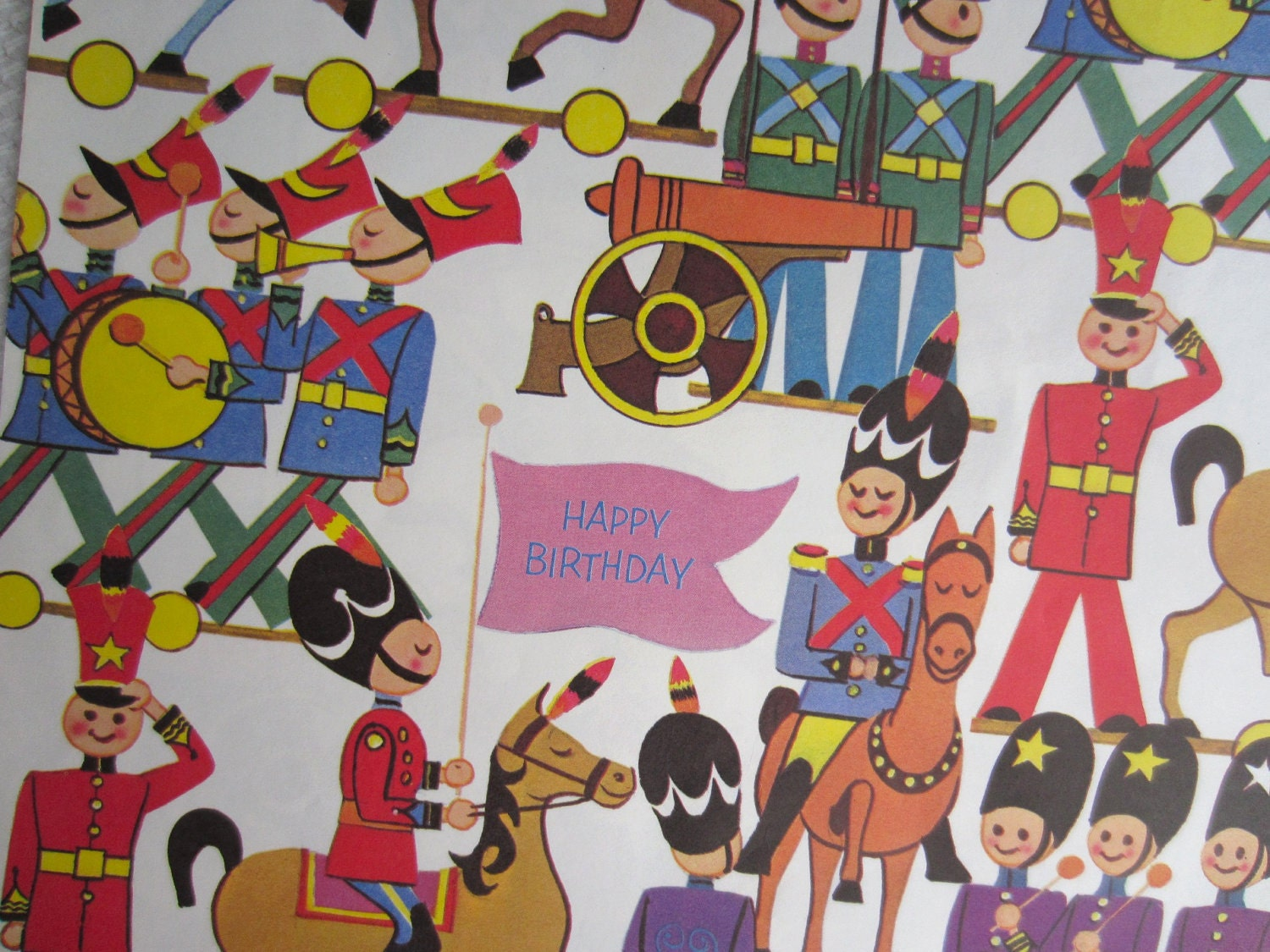 Vintage Birthday Party Parade Norcross Wrapping Paper Toy Soldiers