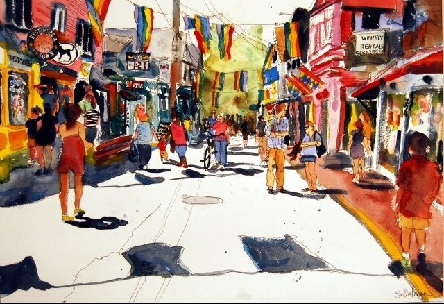 Provincetown Painting PRINT Cape Cod Art Commerical Street Scene