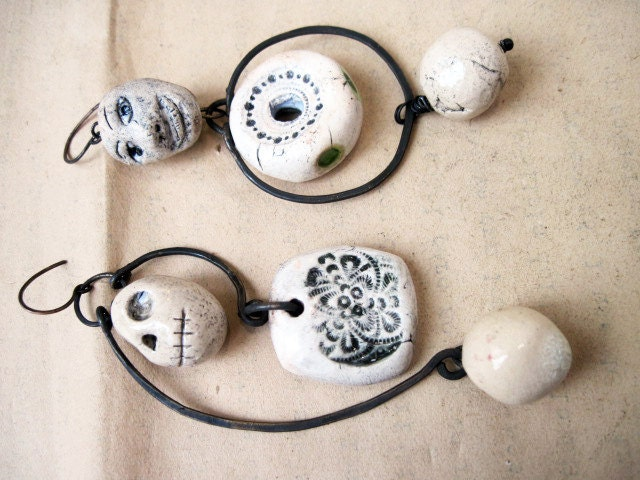 Quietus. Asymmetrical Assemblage Dangles with Ceramic Art Beads.