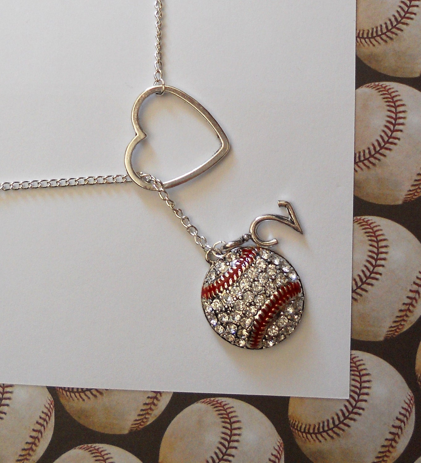 Baseball Lariat Necklace with Rhinestones, Heart and Number, handmade jewelry, pendant - MelissaMarieRussell