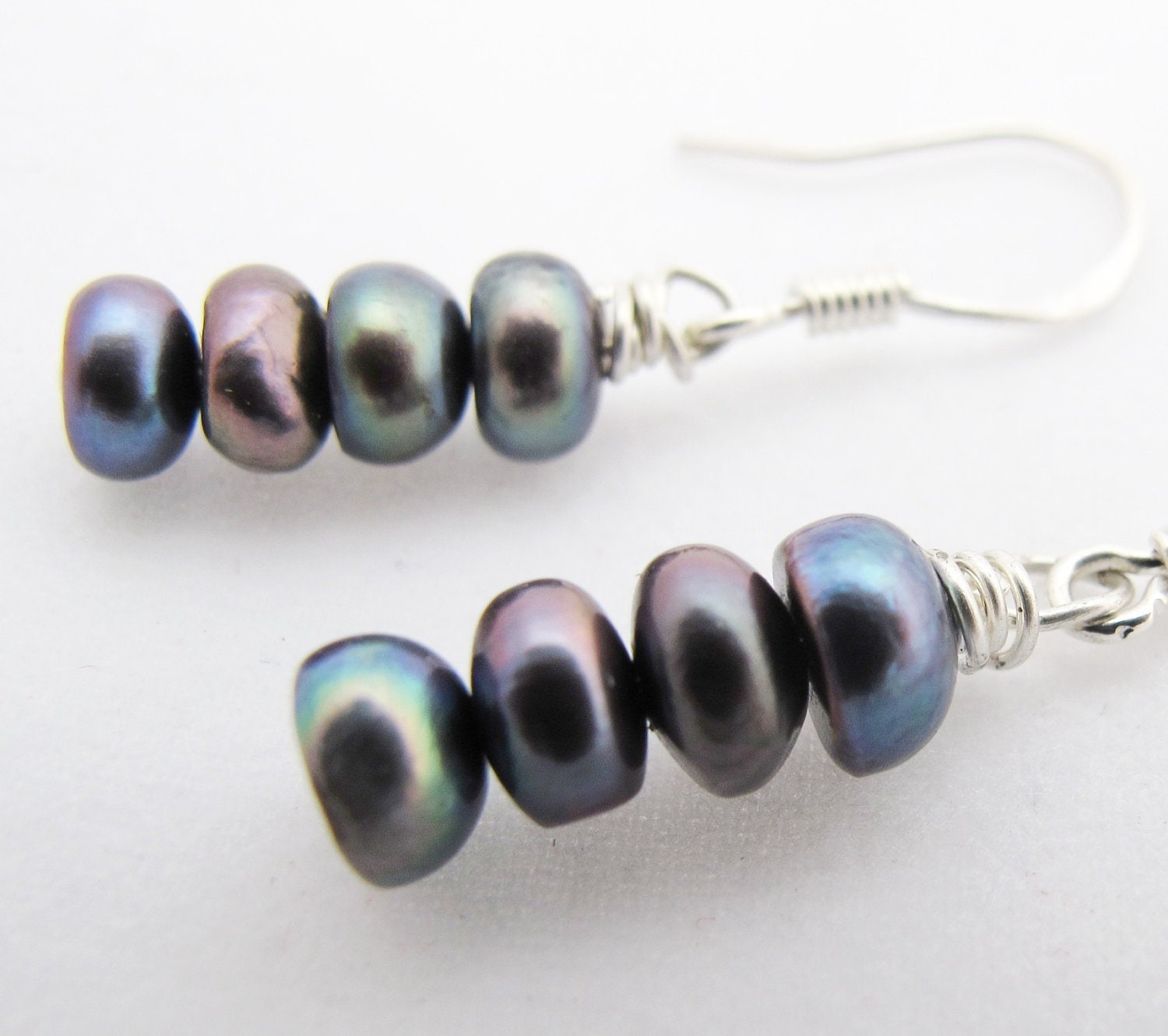 Grey Pearl Earrings on Holiday Sale   Pearl Earrings   Gray Blue Pearl Dangle Earrings