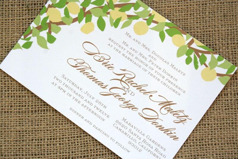Lemon Tree Yellow And Green Wedding Invitation Modern Vintage Inspired