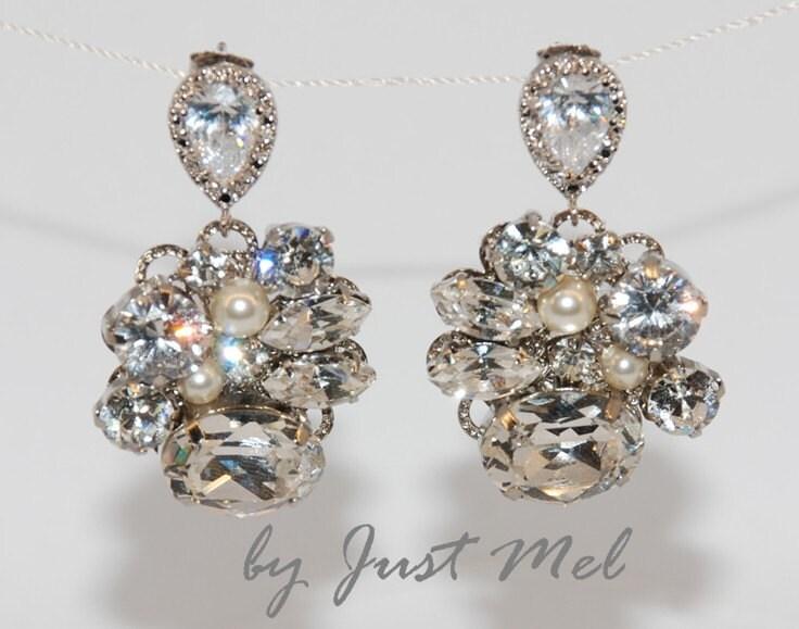 Vintage Earring with Cubic Zirconia Teardrop Earring Post - Wedding Earrings, Bridesmaid Earrings, Bridal Jewelry (E118)