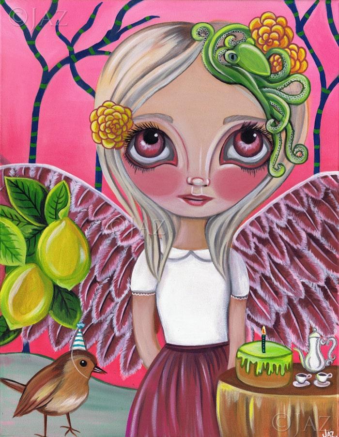 ORIGINAL PAINTING - Birdy has a Birthday - by Jaz Higgins