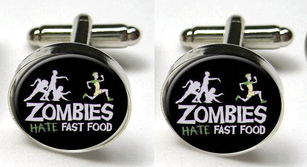 Silver Bezel CuffLinks Glass Round Zombies Hate Fast Food Funny Wedding Brains - goddessglass10359