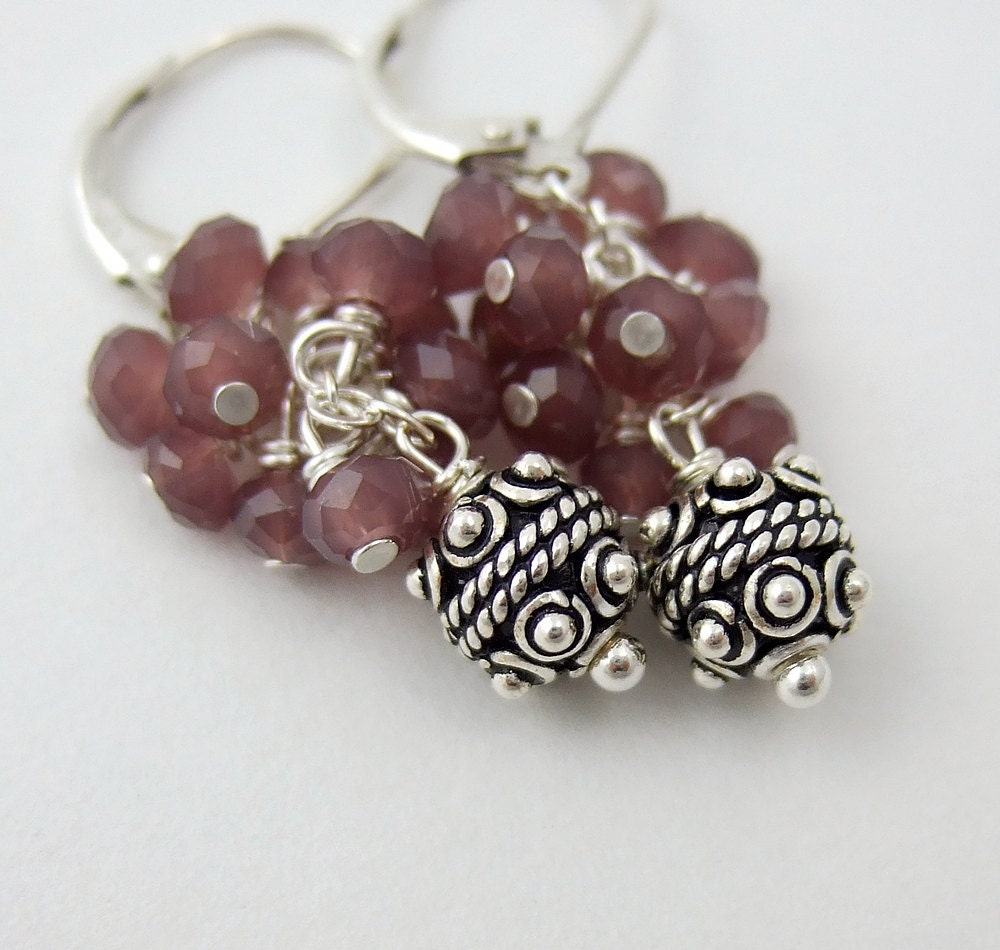 Earrings with a Cluster of Mauve Crystal and Bali Beads BE-167