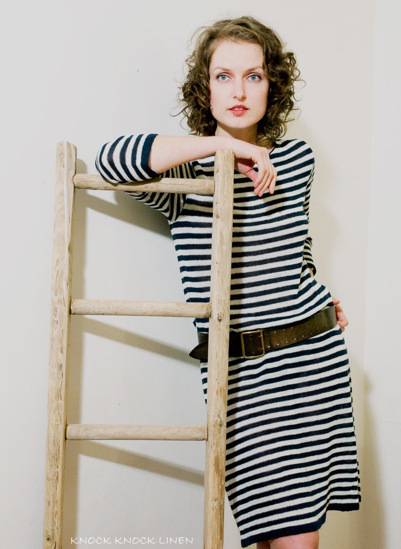 Handmade Nautical Linen (Flax) Dress, Long sleeves, Knee Length, Knitted, Custom Size - KnockKnockLinen