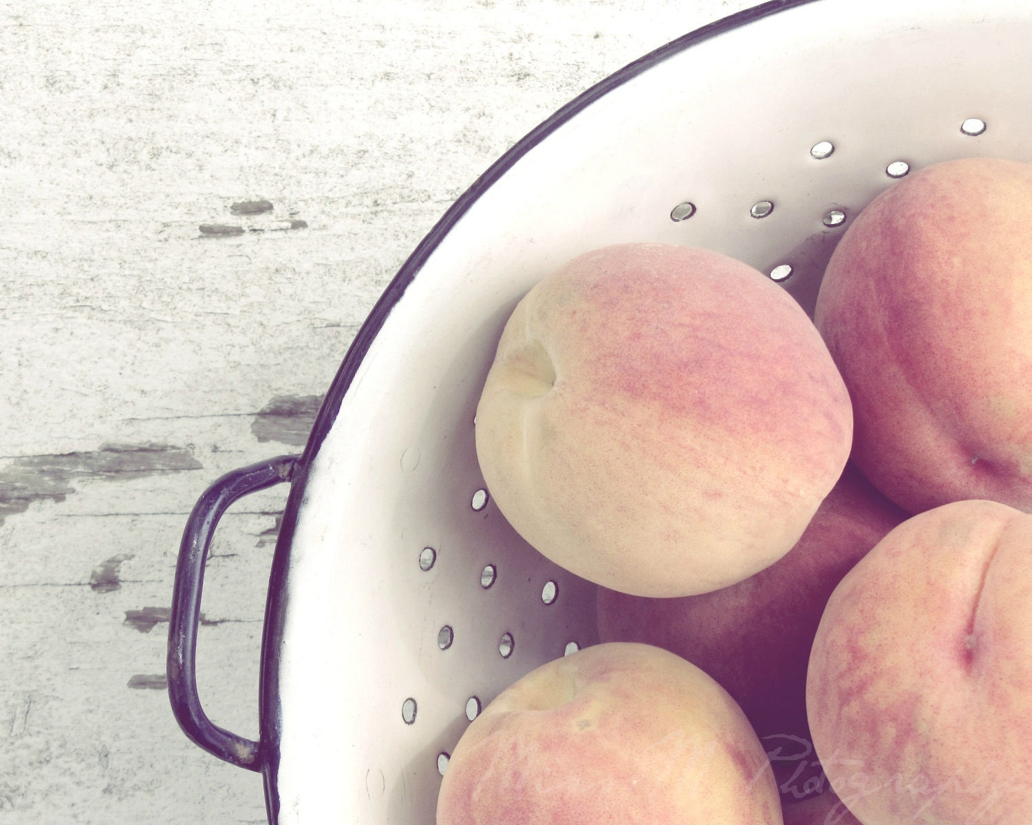 Country living, peaches, colander, peach, gray, rustic, farmhouse, home decor, original fine art photograph, 8x10 print - MissMPhotography