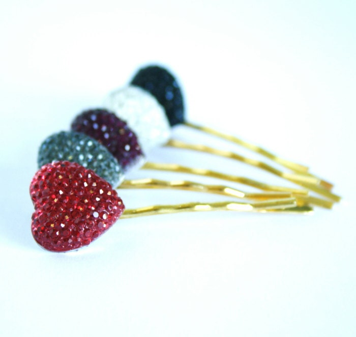 Heart Bobby Pins Gold Plated  - Set of Five - Grey, Silver, Red, Purple, Black - Great Stocking Stuffer