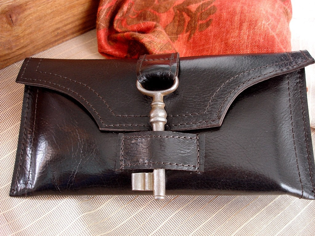 Brown Leather Checkbook Wallet with Antique Key and Snap - Espresso Long Wallet - Ready To Ship - ($75)