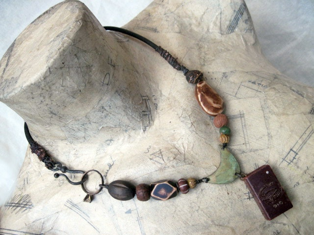 The Usurped Verse. Rustic Mini Book Assemblage Necklace.