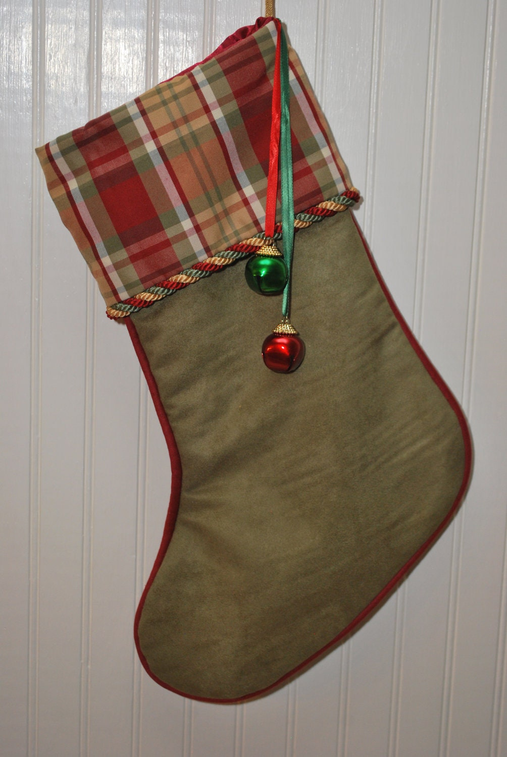 Christmas Stocking Plaid Green Gold and Red with Glitzy Jumbo Jingle Bell Trim