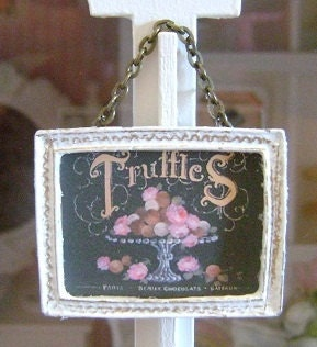 Framed Hanging SHOP SIGN Bakery Cafe Dollhouse Miniature 1/12 th Scale - BakinginMiniature
