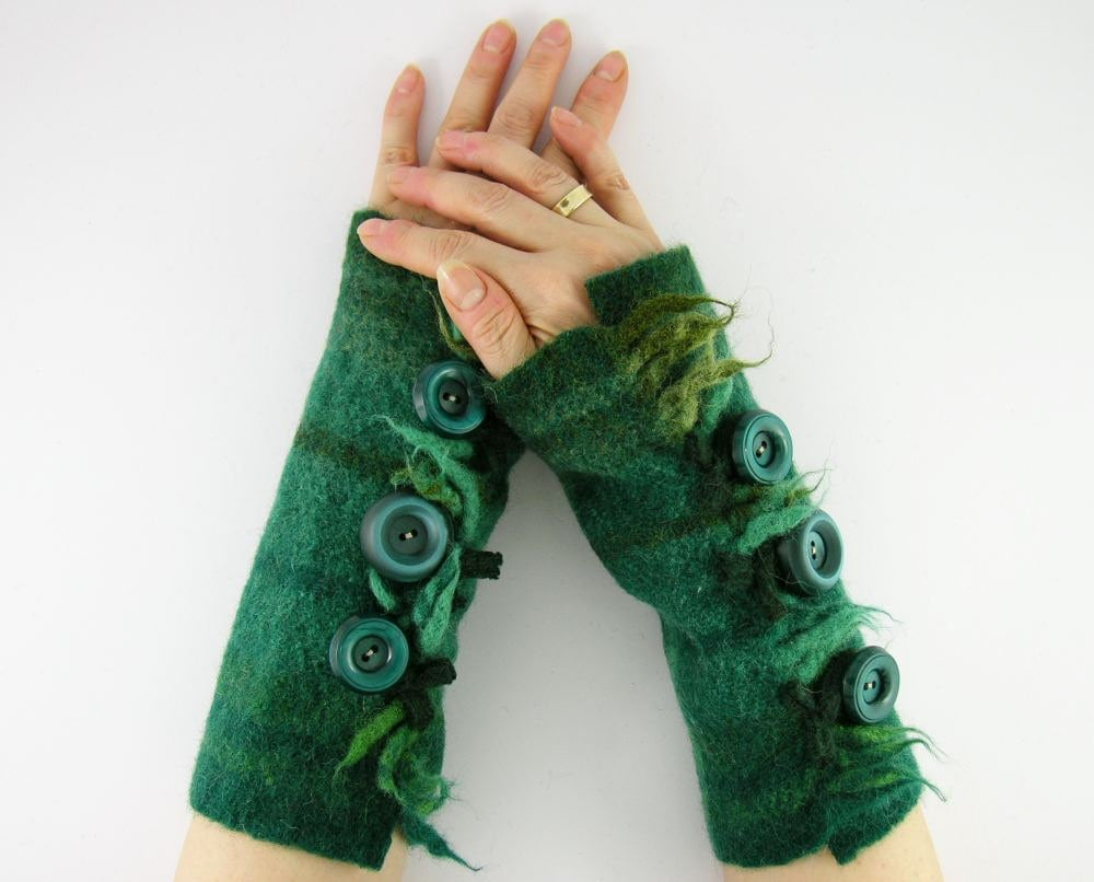 felted fingerless gloves wrists warmers eco friendly arm warmers fingerless mittens cuffs teal green recycled wool tagt team curationnation