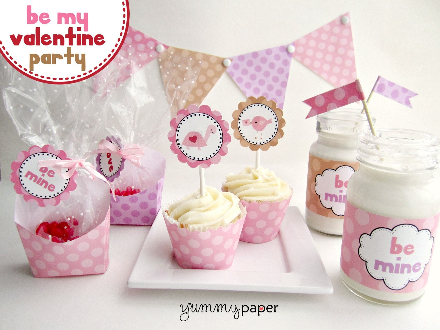 Pink Be My Valentine Printable Party Package - Valentine's Day DIY Party