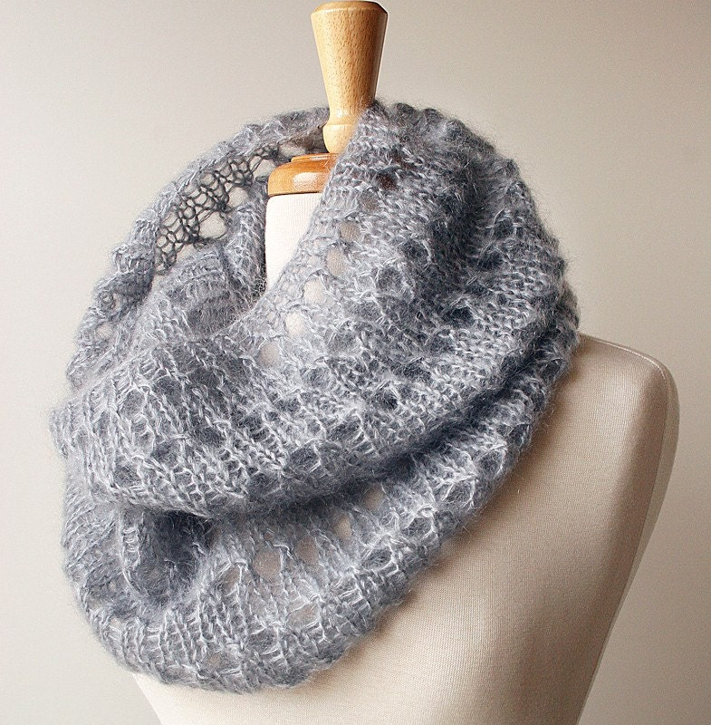 Fall Fashion - Luxurious Knit Cowl in Kid Mohair and Silk - Infinity Scarf Snood - TickledPinkKnits