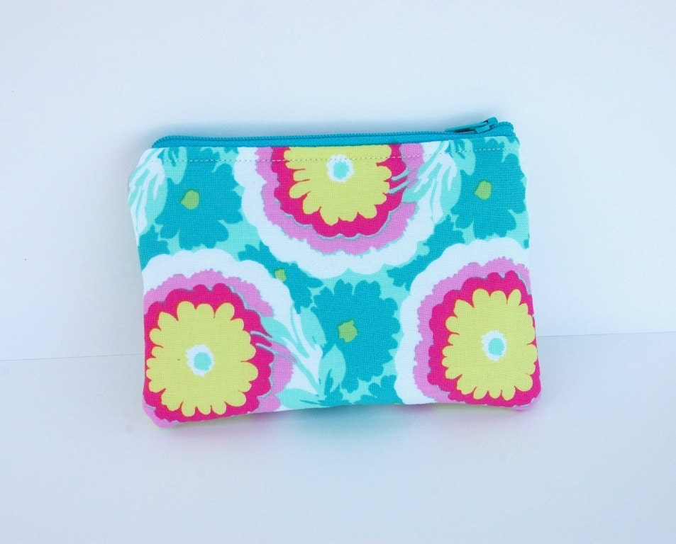 iPhone or Gadget Case - Coin Purse Change Pouch - Amy Butler Soul Blossom Honeydew Spearmint - First Aid Pouch