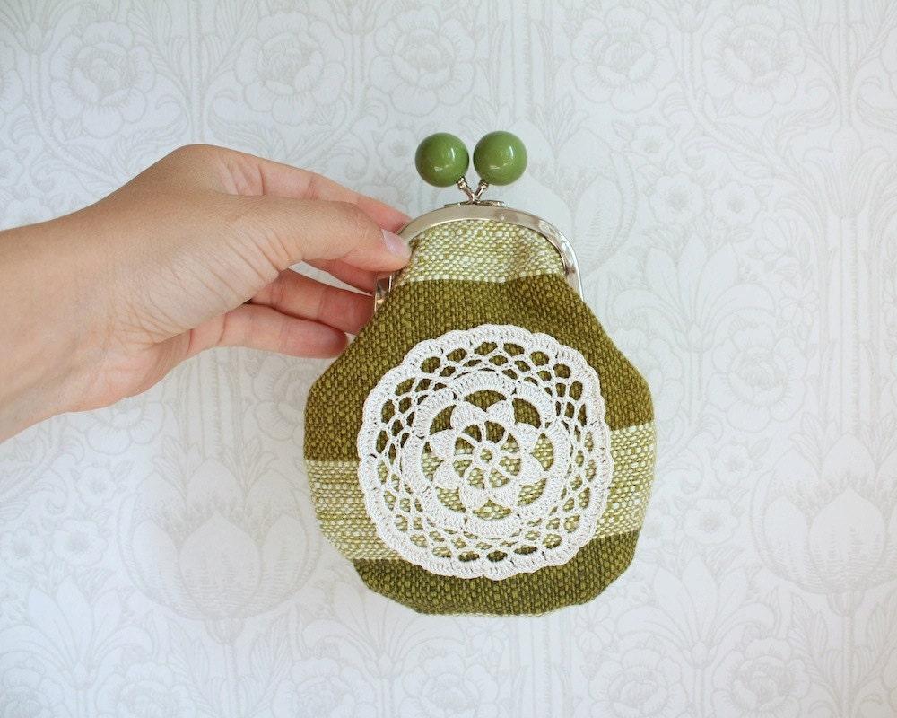 портмоне с классическим вязаного кружева, зеленые
