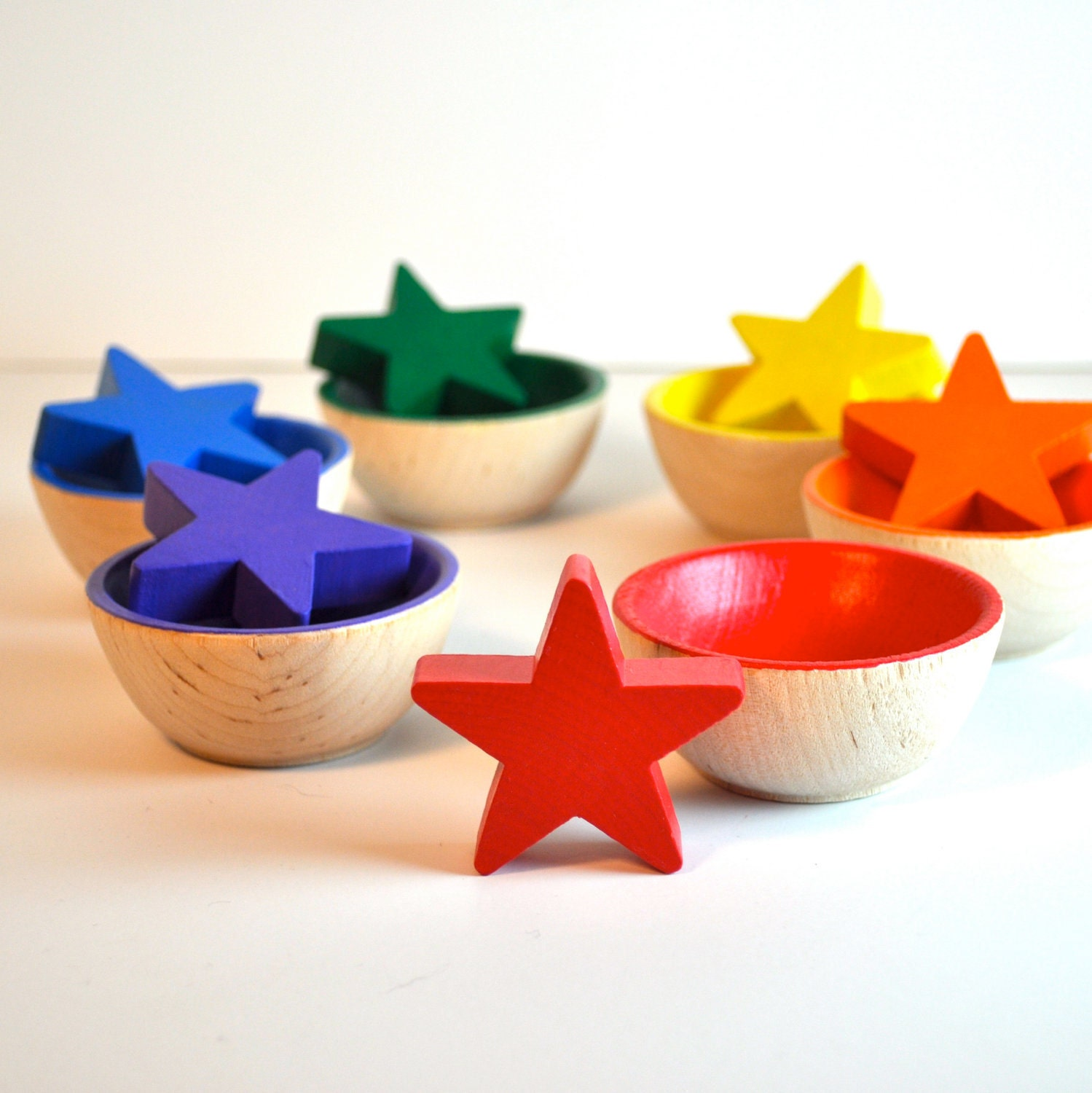 Montessori Toy - Wooden Toy, Sorting  Stars  Educational Toy / Waldorf - theenchantedcupboard - TheEnchantedCupboard