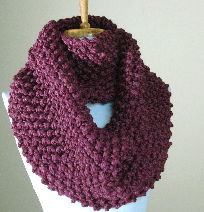 Chunky Hand Knit Infinity Scarf in Purple Fig Textured Pattern Original Design - PhylPhil