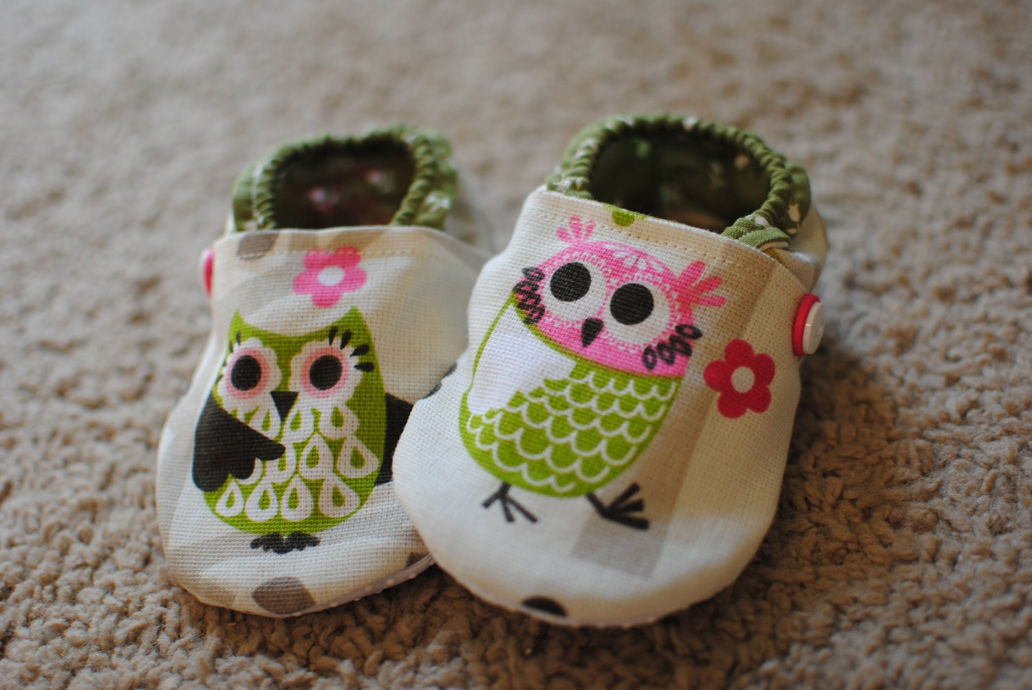 CYBER SALE Adorable Owl Shoes. Cotton Lined.