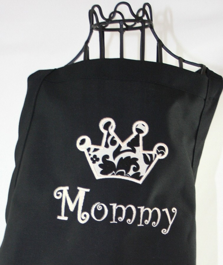 Damask Black & White Crown Applique Personalized Apron - with Ribbon and Pockets - Embroidered  Monogrammed