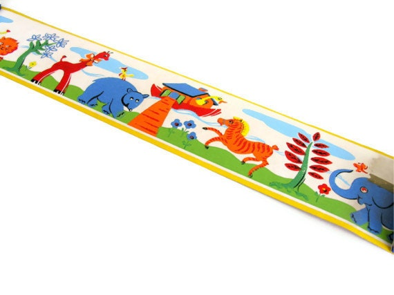 Vintage Trimz Wallpaper Border Noah's Ark Circus Animals Primary Colors Unused Roll Original Box - veraviola
