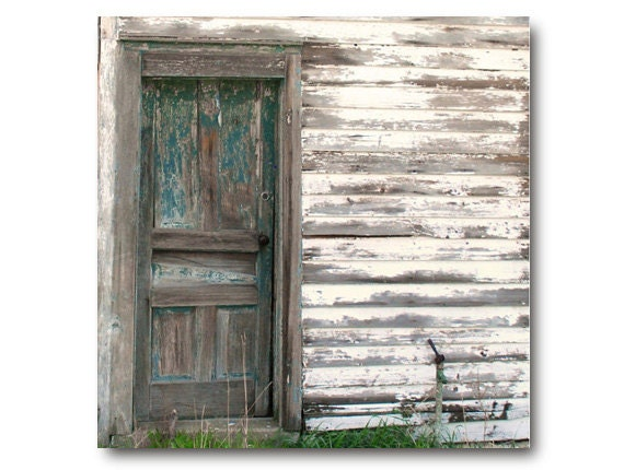 Rustic Farm Photo, Vintage Farmhouse Door, teal, cottage chic country dilapidated house beautiful deep teal weathered door shabby farmhouse - semisweetstudios