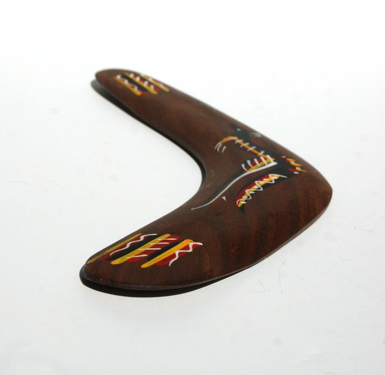 Australian Wooden Boomarang Hand Painted by Aborigonals from native timbers Souvenir Bunabiri Kangaroo - Luxina