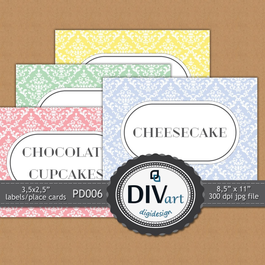 """PRINTABLE Party Decorations - PD006 - 3,5x2,5"""" damask food labels, place cards, gift tags - Tea Party, Birthday Party"""