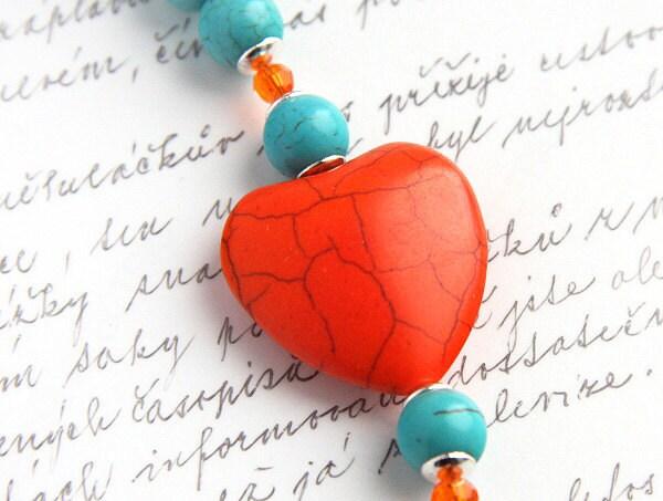 Orange and Aqua Blue Turquoise Bracelet. Large Heart. Mod Look. Swarovski Crystals.  Silver Toggle Clasp. tagt team