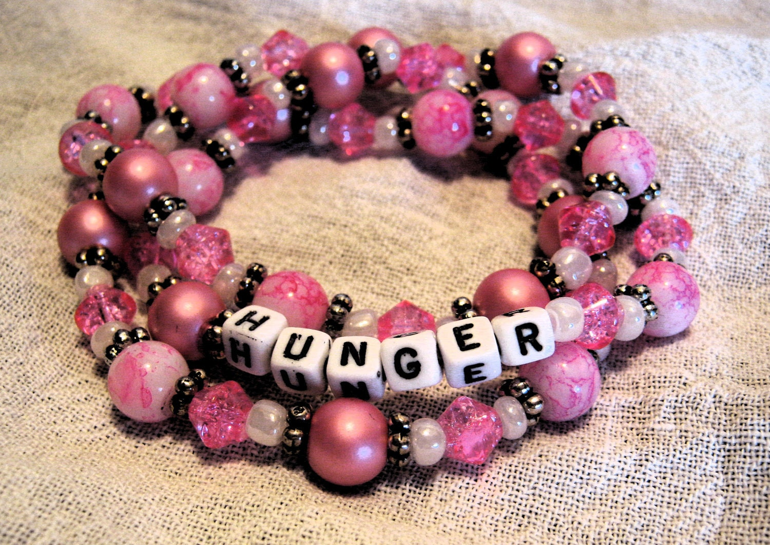 Pink and Silver Glass Bead Hunger Bracelet