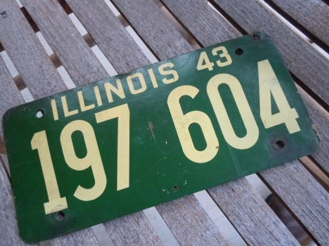 Vintage License Plate Illinois 1943 Fiberboard Garage Mancave Collecitble Decor - AMarigoldLife