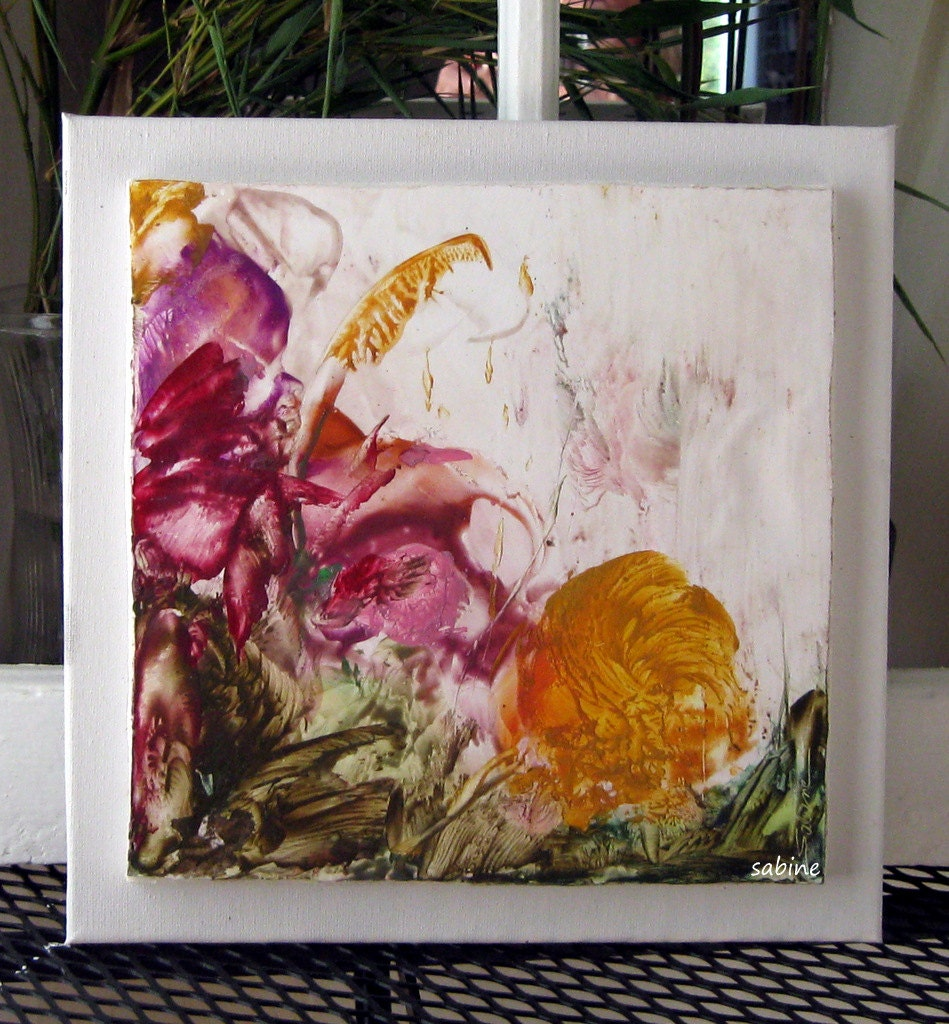 "ENCAUSTIC ORIGINAL  Floral Vignette 12""x12""  Yellow Pink STUDIOSABINE"