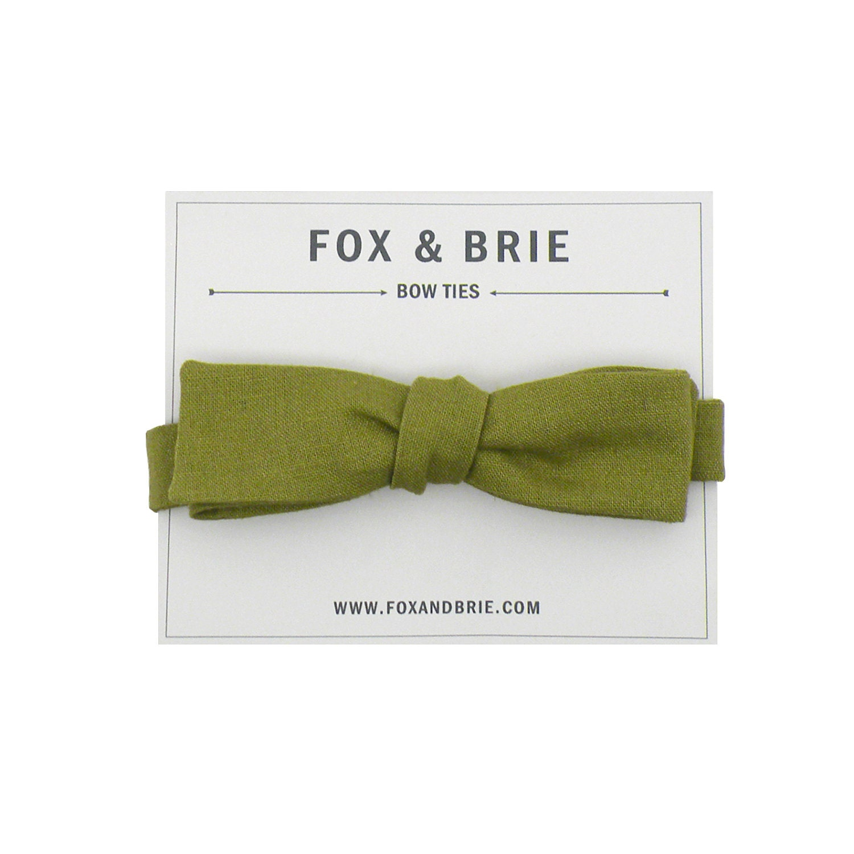 Olive Linen (slim bow tie) - FoxandBrie