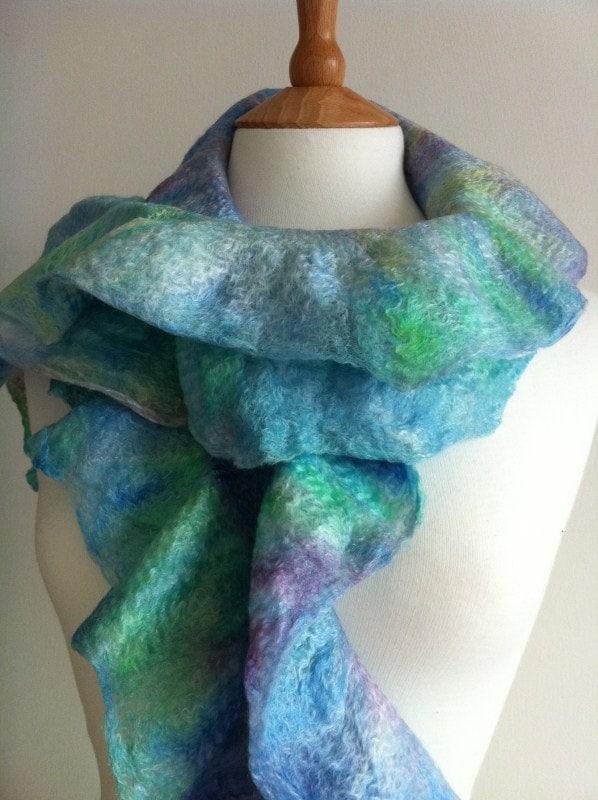 """Scarf: Felt Hand felted ruffle scarf """"Mermaid"""""""