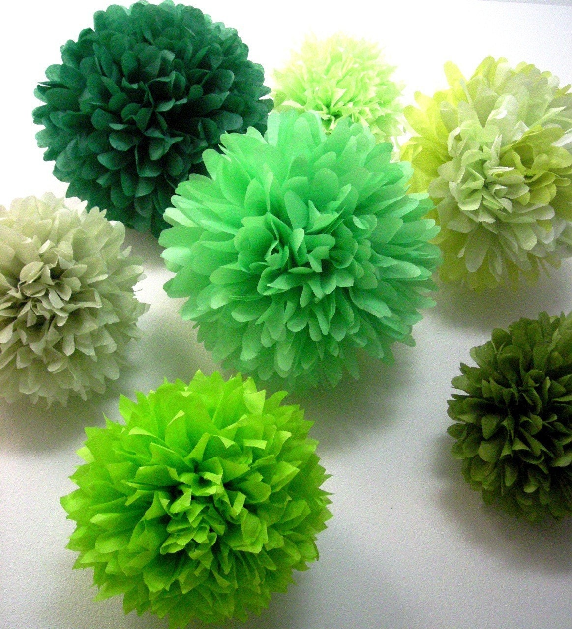 Mixed Greens ... 10 tissue paper poms // wedding ceremony // housewarming party // dinner party // paper decorations
